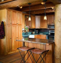 Natural looks like pinecones, bark and branches create a beautifully rustic space.
